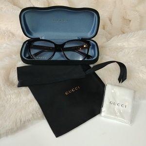 New Gucci Black Acetate Eyeglasses w/ Case